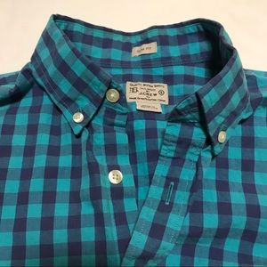 J.Crew Shirt Button Down Small Slim Fit Check Blue